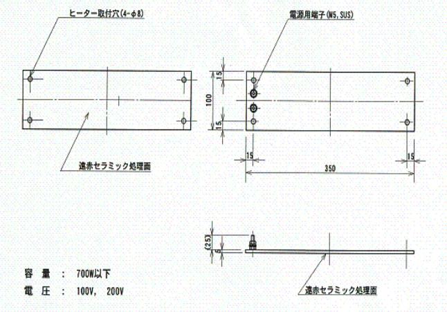 サイズ 150×300、電源端子、取付穴(4隅)